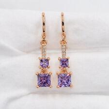 18K Gold Filled Purple Mystic Topaz Square Drop Dangle Earrings Jewelry