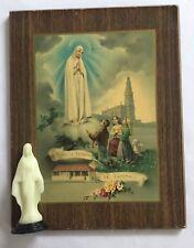 Lot Vintage Religious Christian Items - Nossa Senhora Print & GITD Figurine