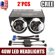 "2x 7"" Inch Round 40W LED Halo Angel Eyes Headlight For Jeep Wrangler TJ/LJ/CJ/JK"