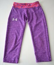 Youth Under Armour Sz Yxs Purple Pink Heat Gear Cropped Legging Pants Athletic