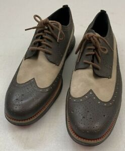 Cole Haan grand os gray tan suede leather brogue wingtip shoes #C20779 Size 11.5