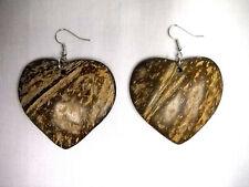 NEW BOHO NATURAL BROWN COLOR HEART SHAPE COCONUT WOOD DANGLING FASHION EARRINGS