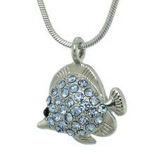 W Swarovski Crystal Blue FISH Aquarium Sea Ocean New Gift Necklace Pendant