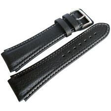20mm Di-Modell Pilot Black Buffalo-Grain Leather German Aviator Watch Band Strap