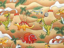 Cuarto gordo Dino Fiesta Dinosaurios Algodón Tela de costura de acolchar