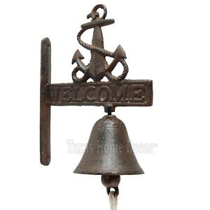 """Anchor """"Welcome"""" Dinner Bell Cast Iron Wall Mount Rustic Antique Style Nautical"""
