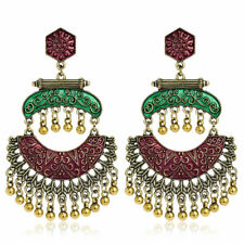 Fashion Bohemian Gold jhumka Ethnic Tassel Earrings Bollywood Indian Jewelry