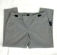 NWT Soho Apparel Woman 3X White Black Herringbone Pants Skinny Ankle Stretch NEW