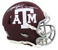 """Texas A&M Johnny Manziel """"12 Heisman"""" Signed Maroon Speed Mini Helmet JSA Wit"""