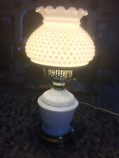 Vintage Hurricane White Hobnail Top Milk Glass & Floral Embossed Bottom Lamp