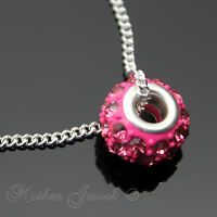 PINK CRYSTAL COVERED BEAD PENDANT STERLING SILVER FILLED LADIES GIRLS NECKLACE