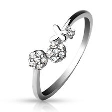 .925 Sterling Silver Butterfly & Cz Gem Flowers Adjustable Toe Ring (toe-15L)
