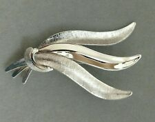 VAN DELL Leaf Brooch Sterling Silver Pin Textured Three Leaves Signed 925