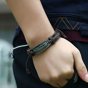 Handmade Braided Cord Leather With Feather Charms Wristband Bracelet Bangle Gift