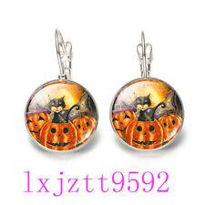 Halloween Pumpkin Skull  Glass cabochon(18MM)Lever Back Earrings Silver Jewelry