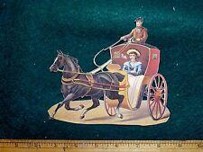 Victorian Die-Cut Scrap Horse & Carriage Sailor Smoking #K