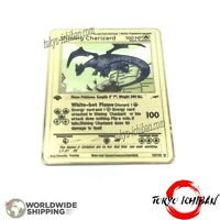 Carte Pokemon Shining Dracaufeu Charizard / Metal Gold Card GX EX Fan Made Shiny