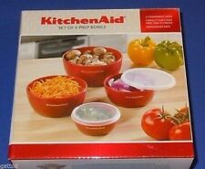 4 Kitchenaid Red Prep Bowls Lids Food Storage 1 2 3