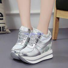 Women Sneaker High Top Floral Sequin Hidden Wedge Platform Lace up Fashion Shoes