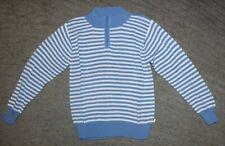 Bella Bliss Girls Blue & White Zip Neck Sweater - Size 8 - EUC