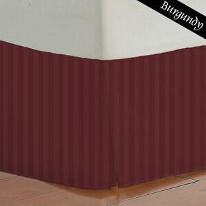 Drop Length Stripes - Burgundy 100% Egyptian Cotton Bed Skirt { 1PC } 800 Thread