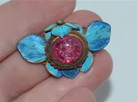 Antique Chinese Kingfisher Feather Tourmaline Glass Pendant Mark