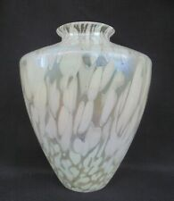"1980s ROYAL BRIERLEY STUDIO  IRIDESCENT GLASS VASE 7.75"" - HAND MADE"