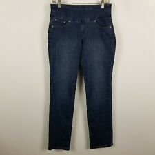 NWT Jag Jeans Pull On Straight Leg Womens Dark Wash Blue Jeans Size 8