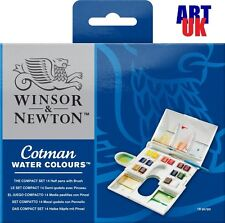 Winsor & Newton Cotman Water Colour COMPACT SET of 14 Artists Half Pan Paint Set