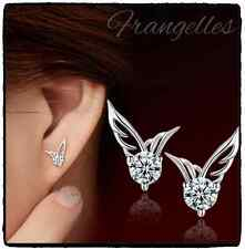 925 Sterling Silver Angel Wings CZ Cubic Zirconia Butterfly Stud Earring Gift