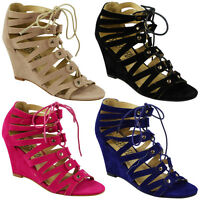 New Womens Ladies Ankle Strap Lace Up High Wedge Heel Peeotoe Shoes Sandals Size