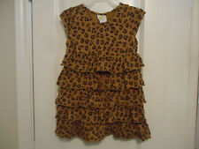 Crazy 8 Girl's Size S (5-6) Short Sleeve Ruffle Tiered Dress Animal Print Brown