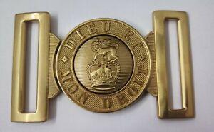 "Genuine Military Current Issue ""DIEU ET MON DROIT"" Ceremonial Brass Belt Buckle"