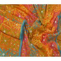 Tcw  Vintage Dupatta Long Stole Blend Georgette Orange Hand Beaded Scarves