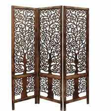 Indian Antique Furniture Handcraft Wooden Partition Screen Room Divider 3 Panels