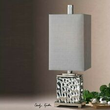 Uttermost Bashan Nickel Plated Water Glass Lamp with Silver Gray Shade