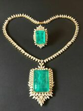 QUEEN SULTANA 1001 NIGHT NATURAL NEON EMERALD NECKLACE RING DESIGNER JEWELRY SET