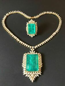 IMPERIAL ELEGANCE NATURAL GLOWING COLOMBIAN EMERALD NECKLACE & RING DESIGNER SET