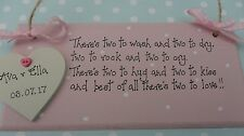 Personalised Twins birth new babies  plaque sign keepsake christening gift