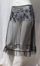 Hand Made Women's Black Mesh Embroidered Stars Boho Petticoat Skirt size XS S