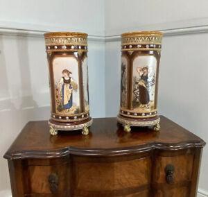 Antique Cylindrical Mettlach Vase's By Christine Warth