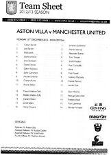 2012 - 13 Aston Villa v Manchester United Under 21s Team Sheet