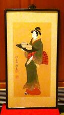 Antique 19c Japanese Watercolor On Paper Painting Depicting Young Geisha W/Tray