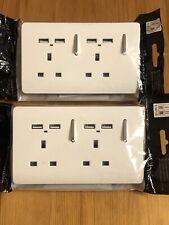 2x Trendi Switch 2 Gang 13 amp short switched Plug 4x USB Socket Screwless White