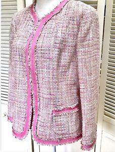 Dana Buchman Black Label Pink Boucle Jacket Sz 14 Petite Blazer Fringe NWT $595