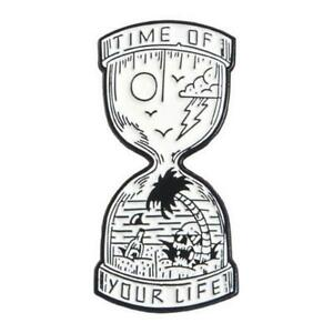 HOURGLASS PIN Spooky Badge Brooch Gothic Halloween Horror Time Sands