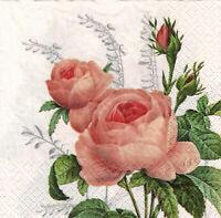 4 lose Servietten Napkins Blumen Flowers Poeny Shabby