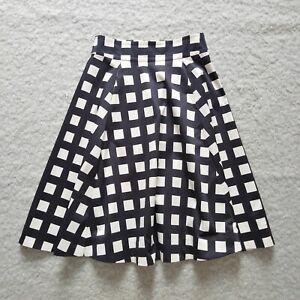 Kate Spade 50s style circle skirt w pockets Black & white check VGC S = UK 8/10
