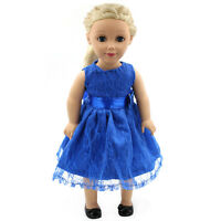 Hot~ Fit 18 inch Girl Doll And Handmade Clothes Blue Dress bow-knot Fashion Gown