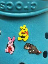 3 Winnie The Pooh & Friends Shoe Charms For Crocs & Jibbitz Wristbands